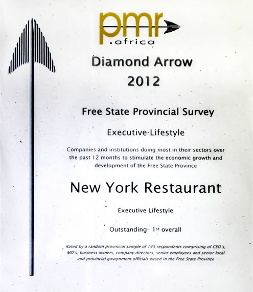 New York Restaurant PMR Diamond Arrow Awards 2012
