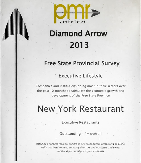 New York Restaurant PMR Diamond Arrow Awards 2013